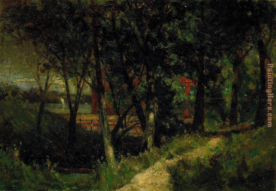 Edward Mitchell Bannister landscape, forest scene with red fence and  building