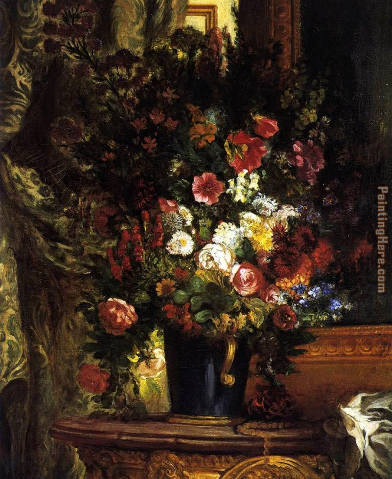 Eugene Delacroix A Vase Of Flowers On A Console Painting Anysize 50 Off