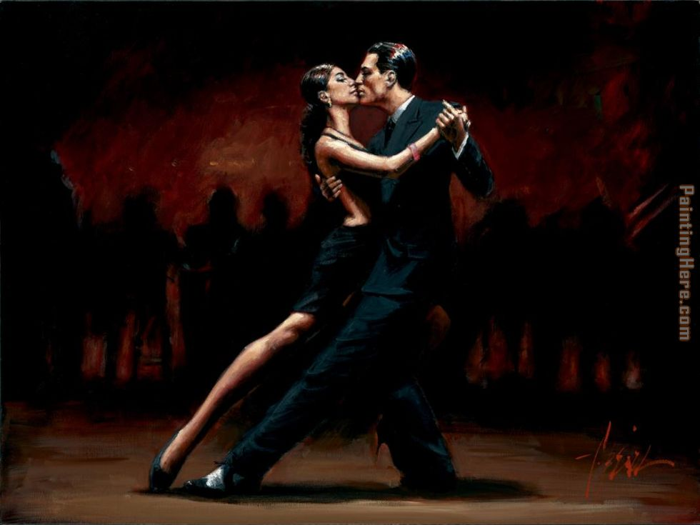 Fabian perez fabian perez tango in paris in black suit painting