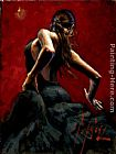 Fabian Perez dancer in red black dress