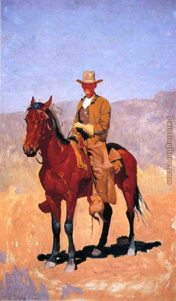 ... Frederic Remington Mounted Cowboy in Chaps with Race Horse Painting