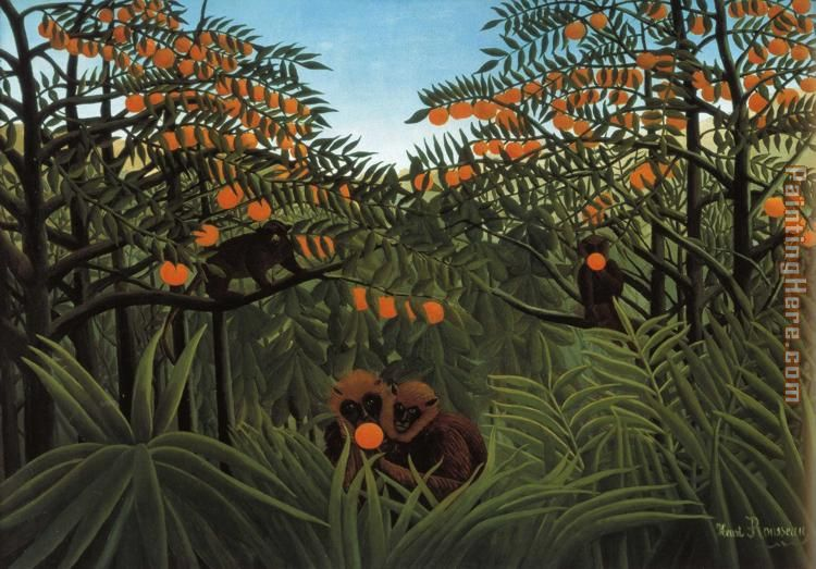 henri rousseau monkeys in the jungle painting anysize 50 off. Black Bedroom Furniture Sets. Home Design Ideas