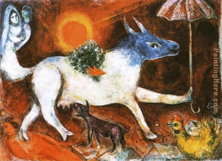 Marc chagall cow with parasol painting anysize 50 off for Marc chagall paris vu de ma fenetre