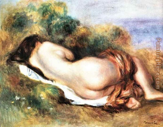 Pierre Auguste Renoir - Pierre Auguste Renoir Reclining Nude Painting