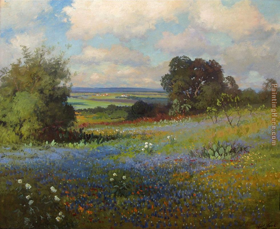 Robert wood texas bluebonnets painting anysize 50 off for Painting for sale by artist