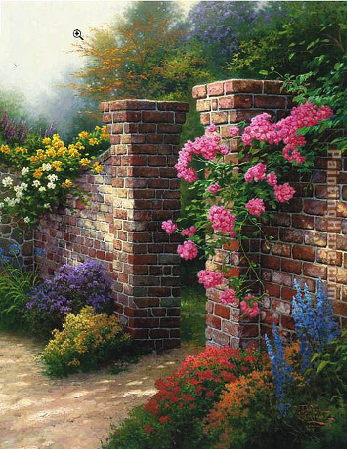 thomas kinkade the rose garden painting anysize 50 off