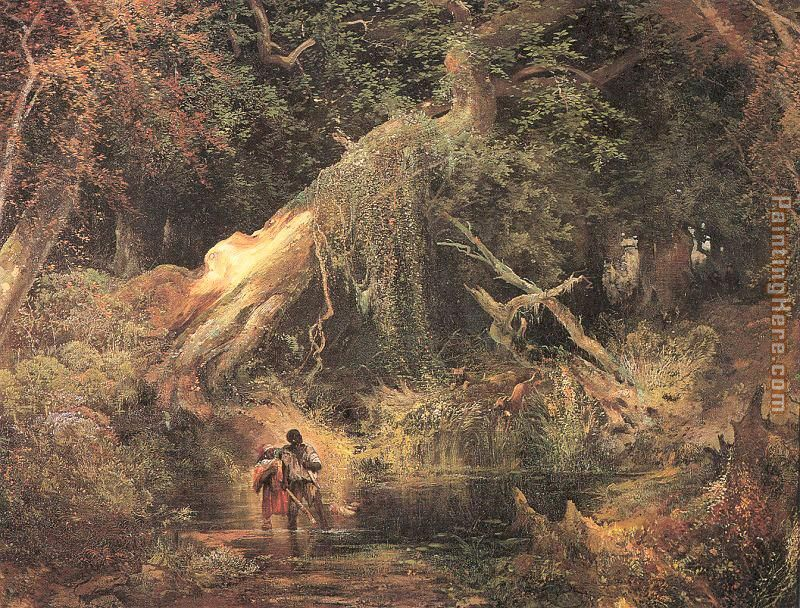Thomas Moran Slaves Escaping Through the Swamp