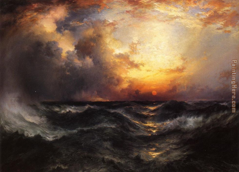 Thomas Moran Sunset in Mid-Ocean