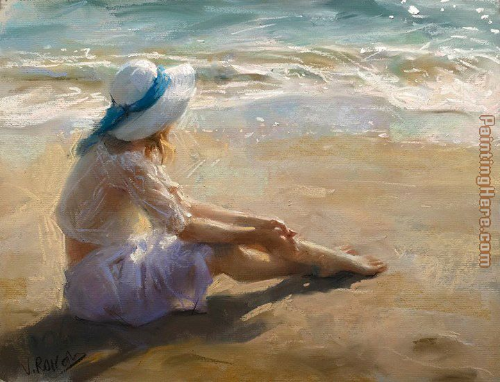 Vicente Romero Redondo girl on the beach
