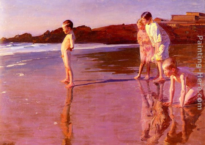 Benito Rebolledo Correa Children On The Beach At Sunset Valencia