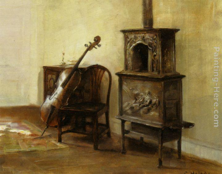 Carl vilhelm holsoe interieur med en cello painting for Carl stuer interieur