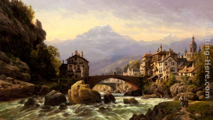 Charles Euphrasie Kuwasseg An Alpine Village Painting
