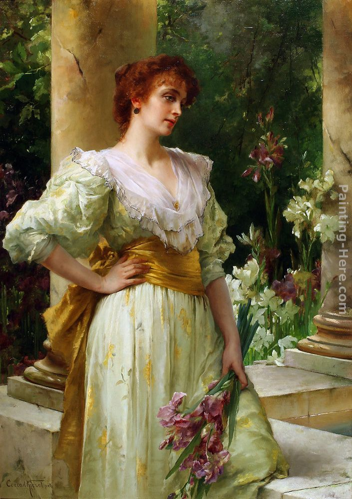 Conrad Kiesel Woman in White Holding Irises painting ...