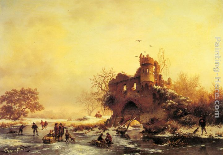 Frederik Marianus Kruseman Winter Landscape with Skaters on a Frozen River beside Castle Ruins