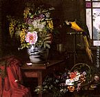 Olaf August Hermansen A Still Life With A Vase, Basket And Parrot