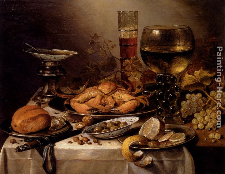 Pieter Claesz Banquet Still Life With A Crab On A Silver Platter, A Bunch Of