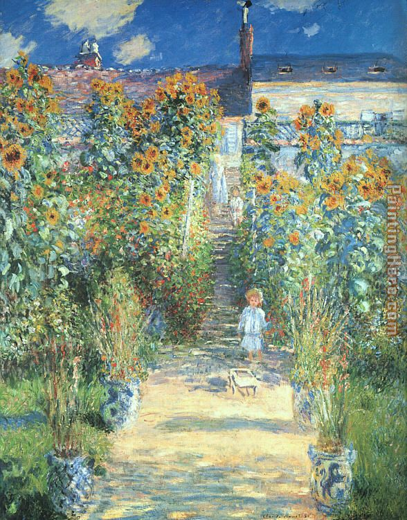 Claude monet the artist garden at vetheuil painting for Claude monet artwork